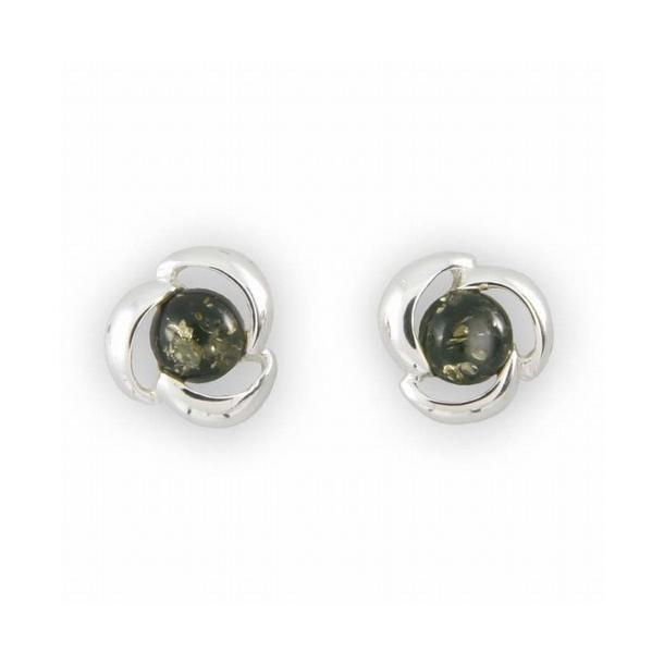 Sølv øredobber - Sølv/Grønn/Rav